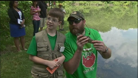 Children's Hospital Patients Go Fishing With Pittsburgh Steelers Brett Keisel