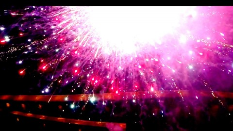 Drone Flying Into Amazing Fireworks