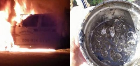 Truck Burns to Ground, Somehow Yeti Cup Stays Intact WITH Ice