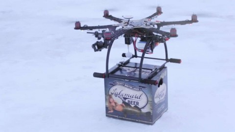 Beer Company Uses Drone To Deliver Cold Beer To Ice Fishermen