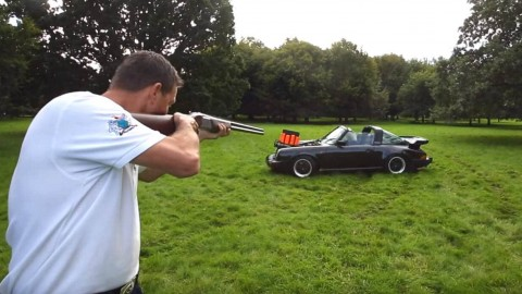 Shooting Clay Traps From a Porsche Targa Because Why Not