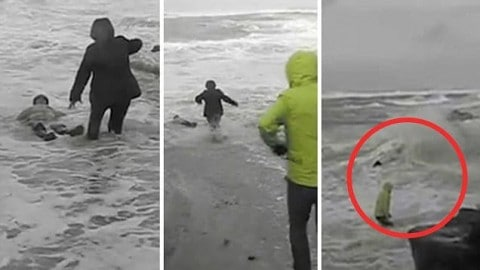 Elderly Couple Dragged Out to Sea During Storm in Gut-Wrenching Video