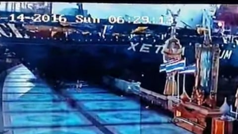 Cargo Ship Plows into Walkway in Bangkok