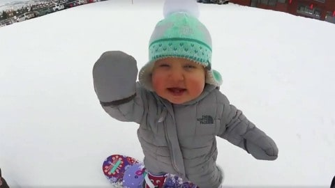 1-year-old snowboards like its nothing she hasn't done before