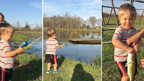 Toddler Catches First Fish on Toy Rod in Awesome Video