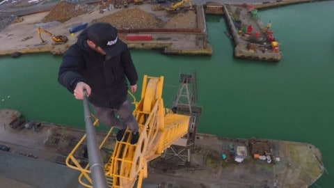Adrenaline Junky Climbing Abandoned Crane Over Southampton Docks Will Make Your Heart Race