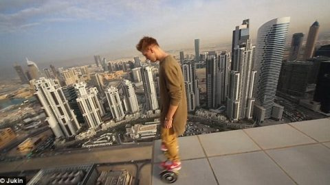 Daredevil Defying Death With a Hoverboard on a Skyscraper Will Make You Sweat Bullets