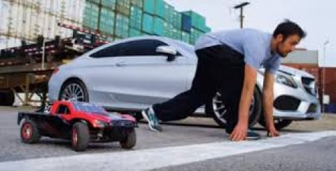 Freaky Athletic Parkour Guy vs RC Car vs Mercedes In Crazy Combo Race