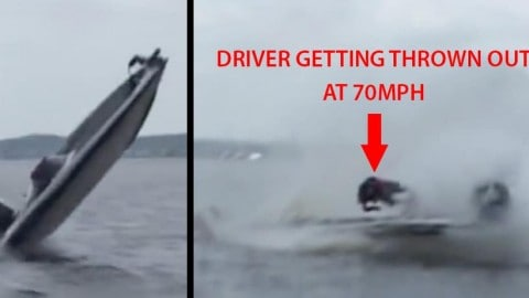 Terrifying Video of 70MPH Boat Crash Violently Launching Driver, Knocking Him Unconscious