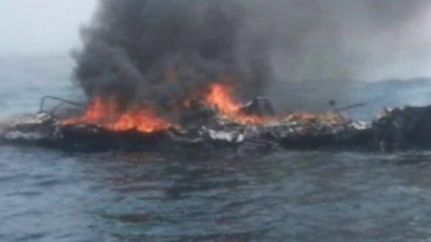 Man Rescued From Burning Boat in Dramatic Coast Guard Video
