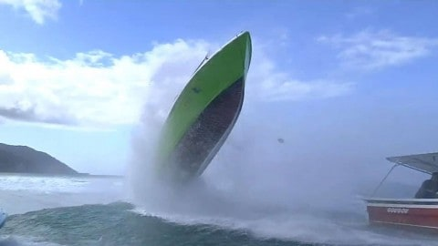 Boat Almost Flips End Over End After Hit by Wave