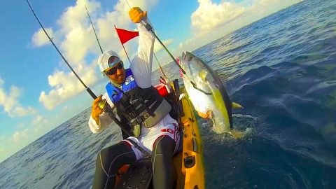 Kayak Fisherman Catches Tuna; Shark Attacks Tuna