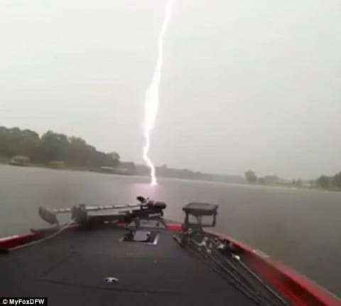 Lightning Nearly Strikes 16-Year-Old Fisherman on His Boat