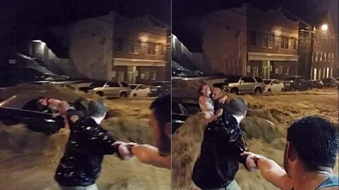 Heroes Form Human Chain To Save Woman From Flood