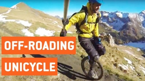 Insane Unicycler Has No Concept Of Death As He Flies Down Mountain