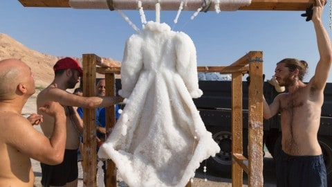 Amazing Dress Covered Completely In Salt Crystals Pulled From Sea