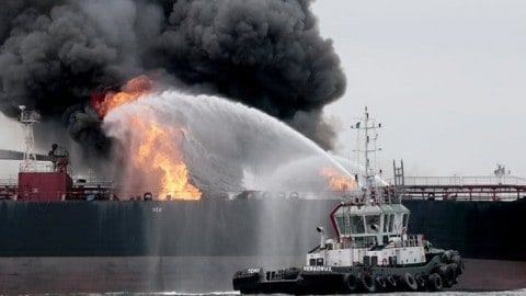 Firefighters Battle Inferno At Sea After Oil Tanker Goes Up In Flames
