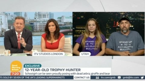 "Piers Morgan Asks 12-Year-Old Trophy Hunter During Live Interview ""How Would You Feel if I Came and Killed Your Pet Cat?"""