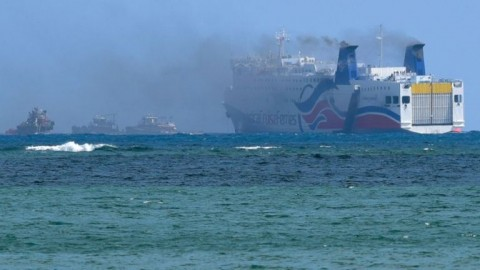 Hundreds Evacuated From Ferry As Fire Blazes on Video