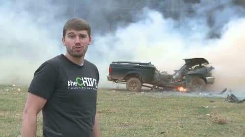 Guy Blows Up Truck and Nearly Gets Cut in Half