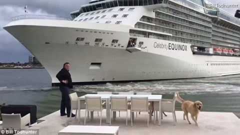 Angry Homeowner Has a David and Goliath Moment as Cruise Ships Drifts Extremely Close to His Home