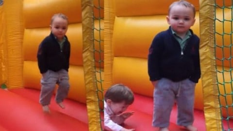 VIDEO: Two-Year-Old In a Bounce House Isn't Impressed With His Inflatable Palace