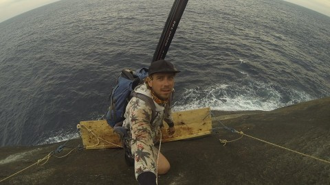Guy Hangs Off Side of Cliff to Reach the Ultimate Fishing Spot!