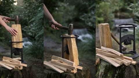VIDEO: Log Splitter Makes Cutting Kindling Wood a Lot Easier