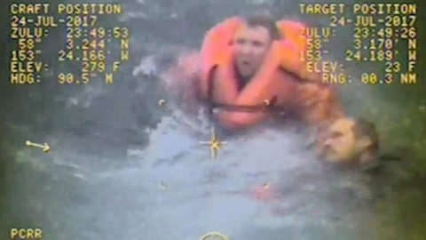 Captain Jumps into the Water to Rescue Crew Members After Their Fishing Boat Capsizes