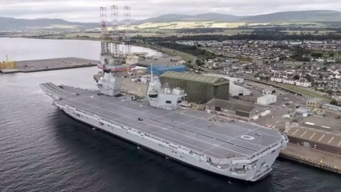 VIDEO: Guy Lands Drone on Queen Elizabeth Aircraft Carrier