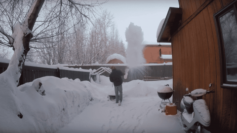 Watch What Happens When Hot Water Is Thrown Into The Air When At -52 Degrees