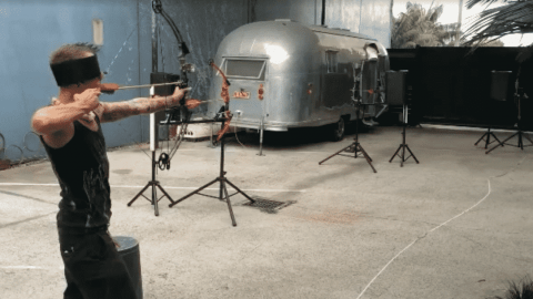 Watch This Guy Set Off A Chain Of Arrows And Catch The Last One Blindfolded