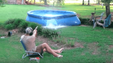 VIDEO: Guy Decides To Drain His Pool With A S&W 500 Magnum