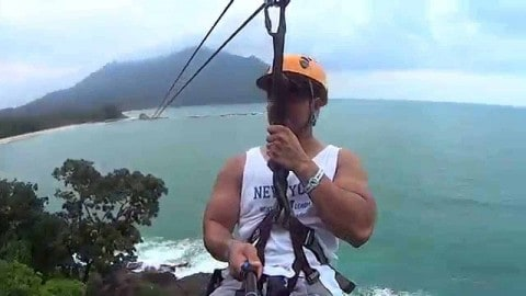 VIDEO: Guy Gets Stuck In The Middle Of A Zip Line Over The Ocean