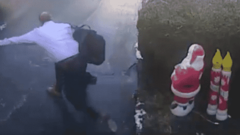 VIDEO: Man Slips Down His Entire Driveway On Black Ice Before Finally Face Planting