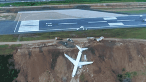 VIDEO: Plane Skids Off Runway And Almost Plunges Into Sea — Everyone Survives