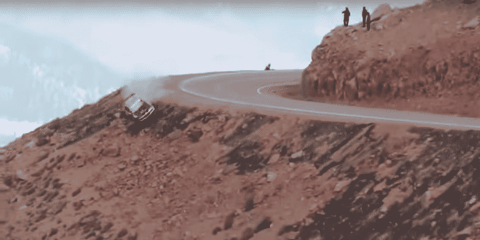 Watch A Race Car Fly Off The Side Of A Mountain After Taking A Corner Too Fast