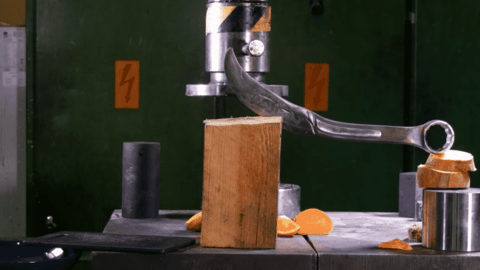 VIDEO: Hydraulic Press Turns A Red-Hot Wrench Into A Knife