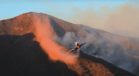 VIDEO: Firefighter Plane Pulls Off Insane Maneuver To Stop Canyon Fire