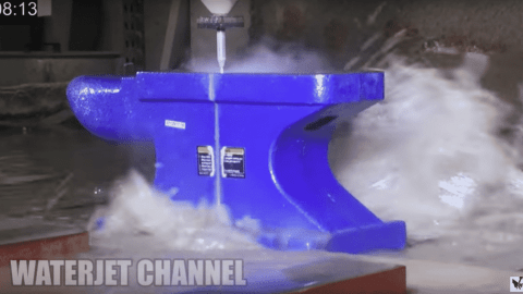 Water vs Anvil: 60,000 PSI Water Jet Cuts Through Anvil Like Butter