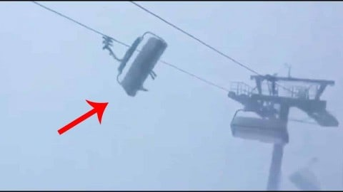 VIDEO: Strong Winds Violently Swing Chairlift Full Of Skiers