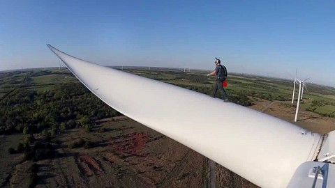 VIDEO: BASE Jumper Takes A Leap Off A Wind Turbine