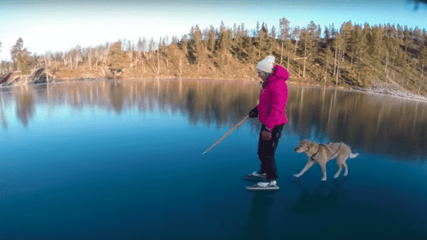 Skating On Crystal Clear Ice Looks Like Gliding On Water
