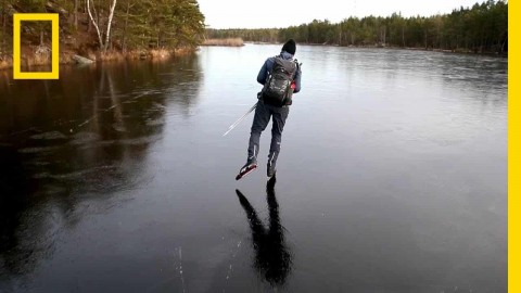 On Thin Ice: Ice Skater Creates Incredible Sounds By Skating On Dangerously Thin Ice