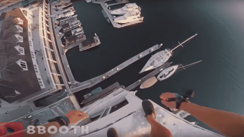 VIDEO: Insane Daredevil Jumps 10-Stories Into Ocean, Barely Misses Dock
