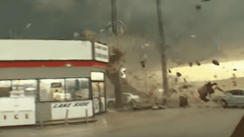 Watch Extreme Winds Rip Apart Gas Station Roof In Seconds
