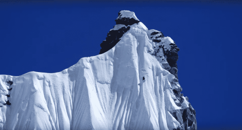 VIDEO: Snowboarder Tackles Incredible 20,000-Foot First Descent That's Basically A Vertical Drop