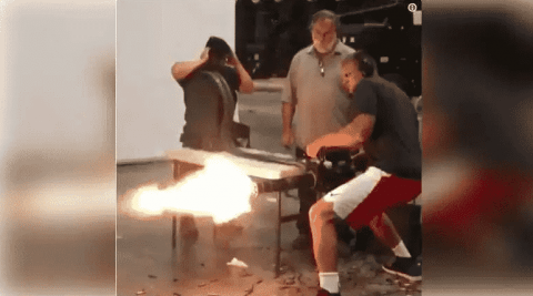 Gronk Fires A Minigun And It's As Epic As You'd Imagine