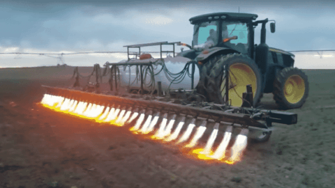 Weeds Don't Stand A Chance With This Fire Breathing Tractor