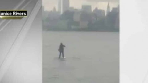 Suit Up! Guy Paddle Boards Across The Hudson River To Make It To Meeting On Time